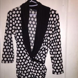 Maurice's ladies top black with white dots small